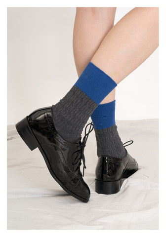 Colour Block Socks Grey - whoami