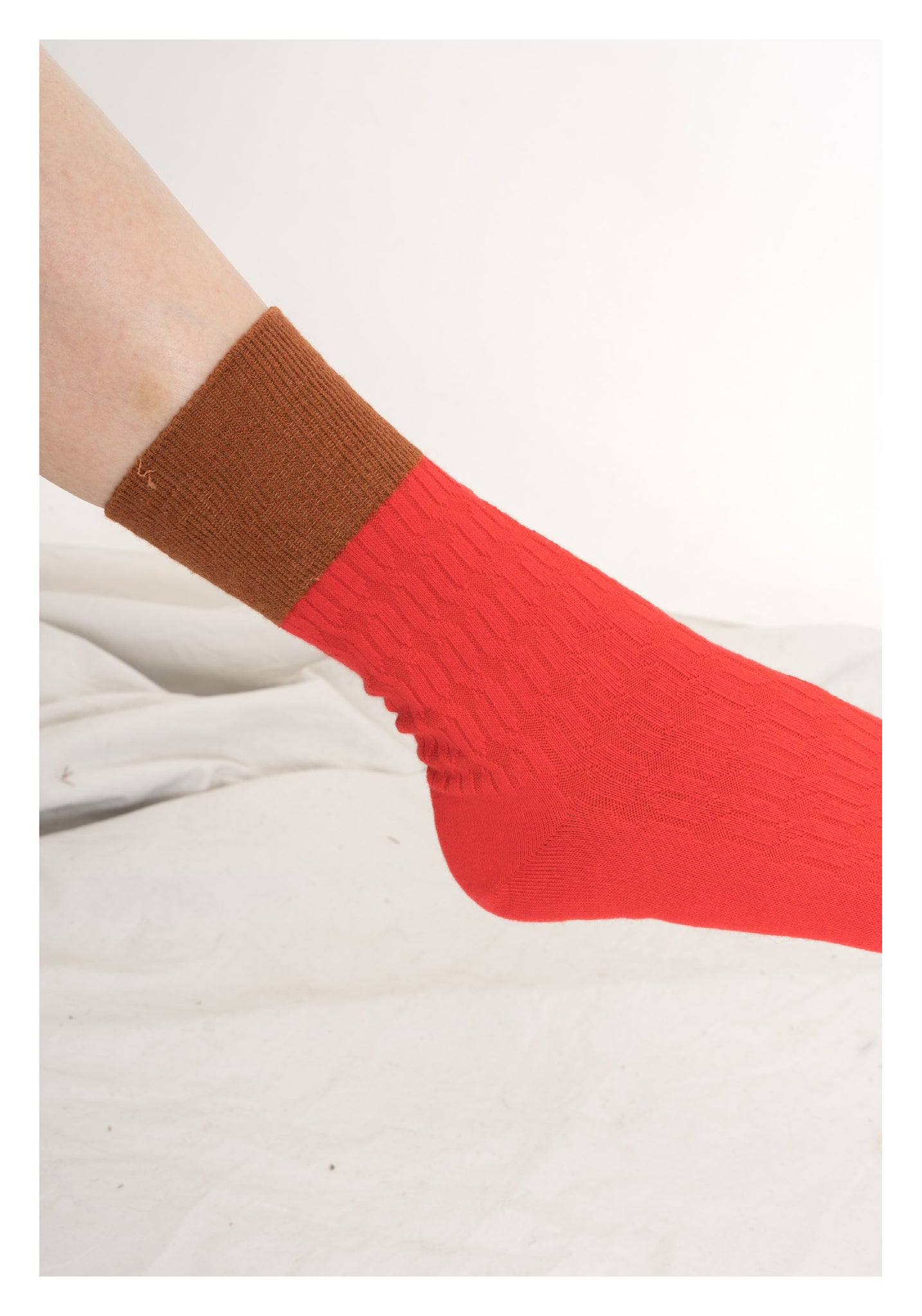 Colour Block Socks Orange - whoami