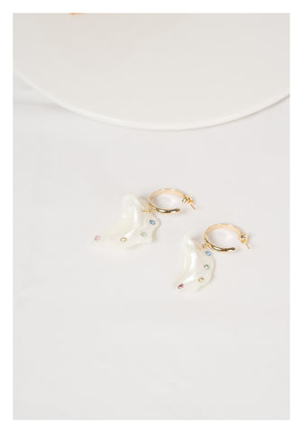 Colour Gem On Shell Hoop Earrings - whoami