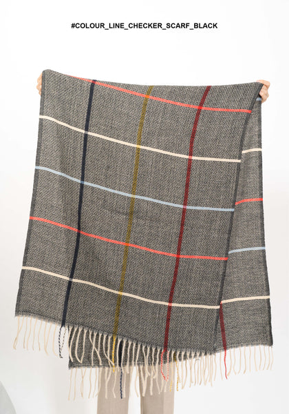 Colour Line Checker Scarf Black