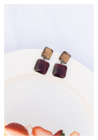Colour Sqaure Gem Earrings - whoami