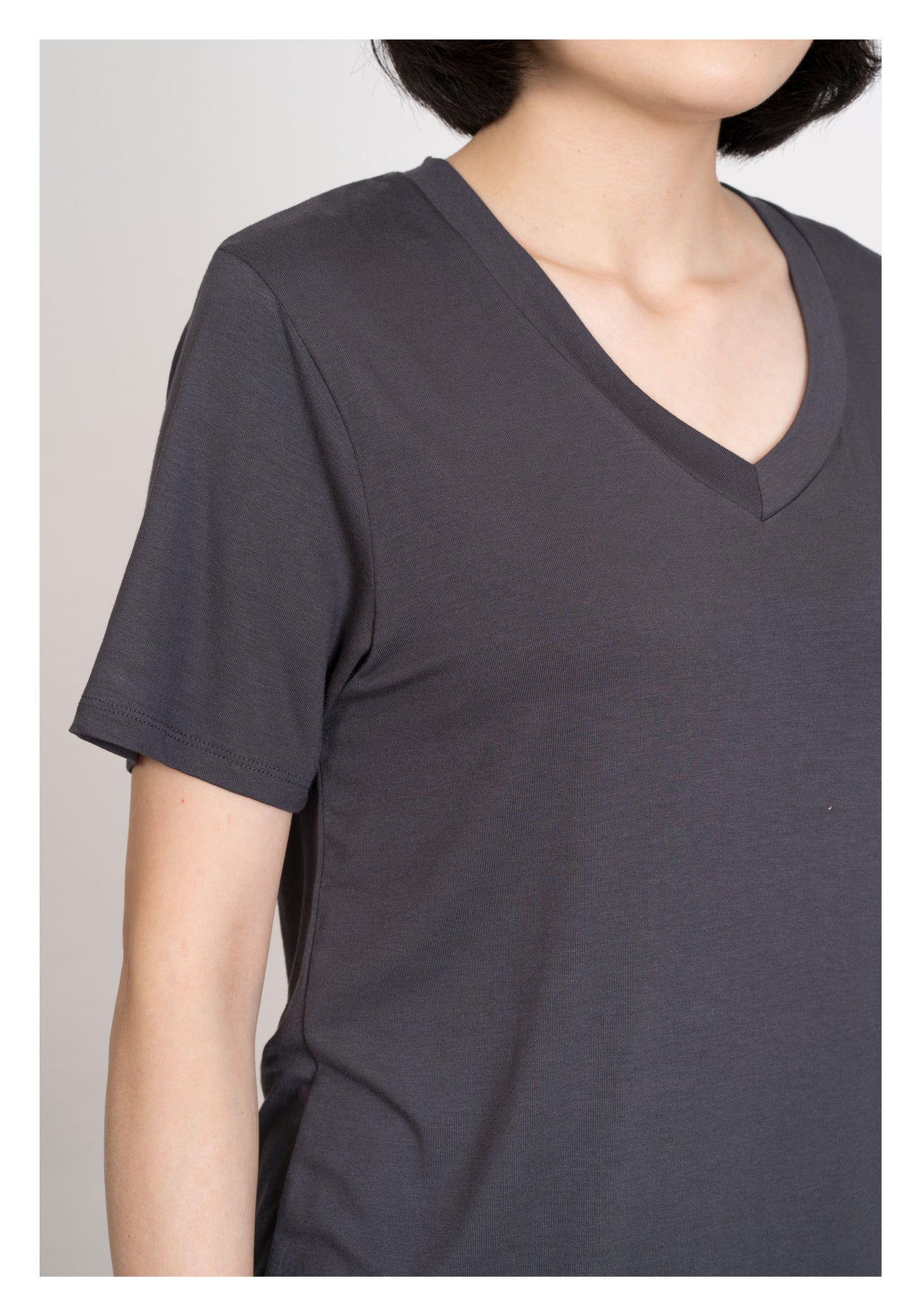 Comfy Silky V Neck Tee Charcoal - whoami