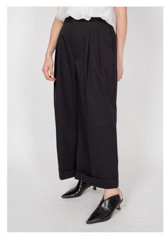 Comfy Wide Hem Long Pants Black