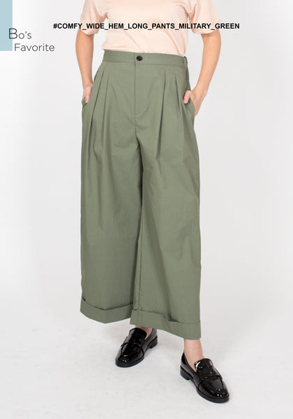 Comfy Wide Hem Long Pants Military Green