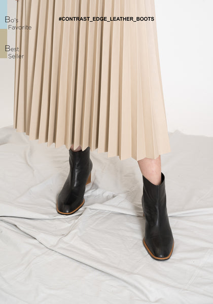 Contrast Edge Leather Boots