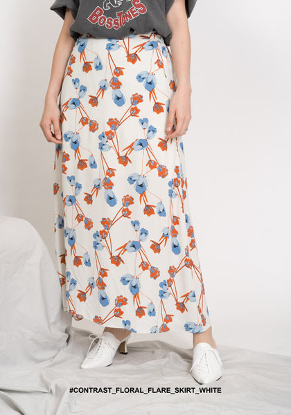 Contrast Floral Flare Skirt White - whoami
