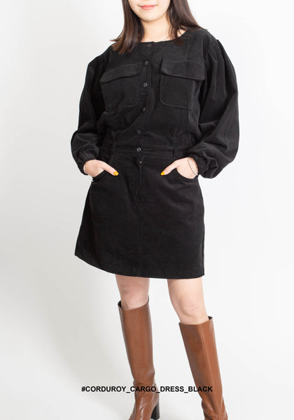Corduroy Cargo Dress Black - whoami