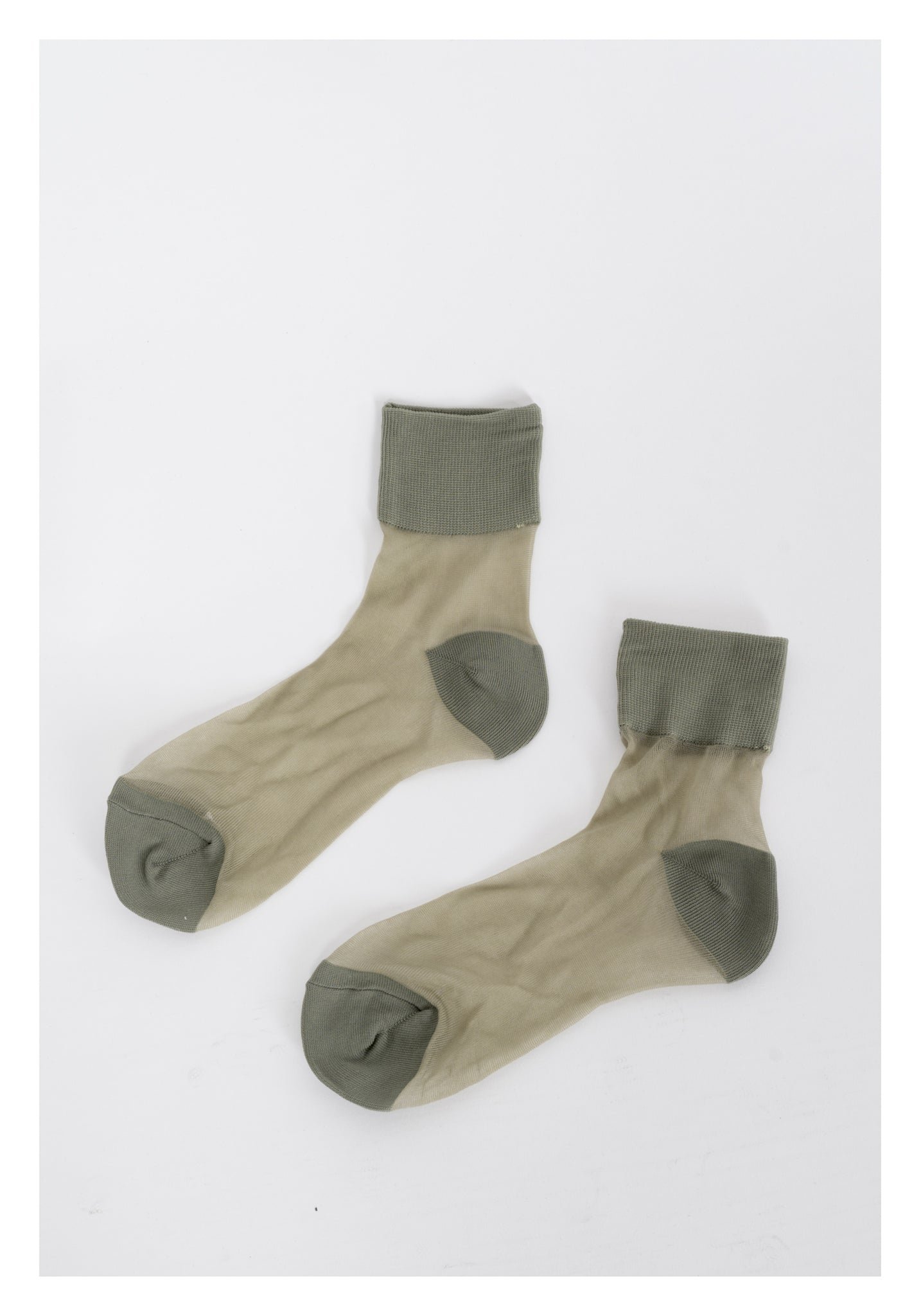 Cotton Hem See Through Socks Olive - whoami