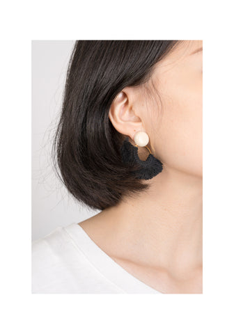 Tassel On Ring Earrings Black - whoami