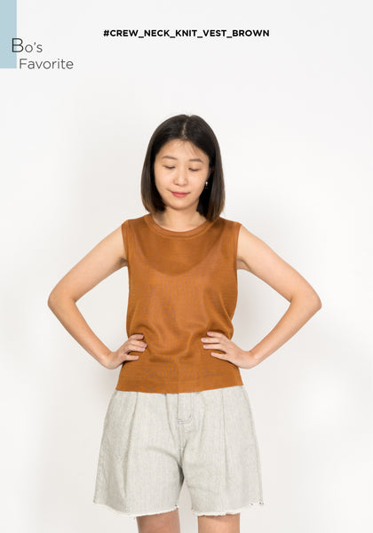 Crew Neck Knit Vest Brown