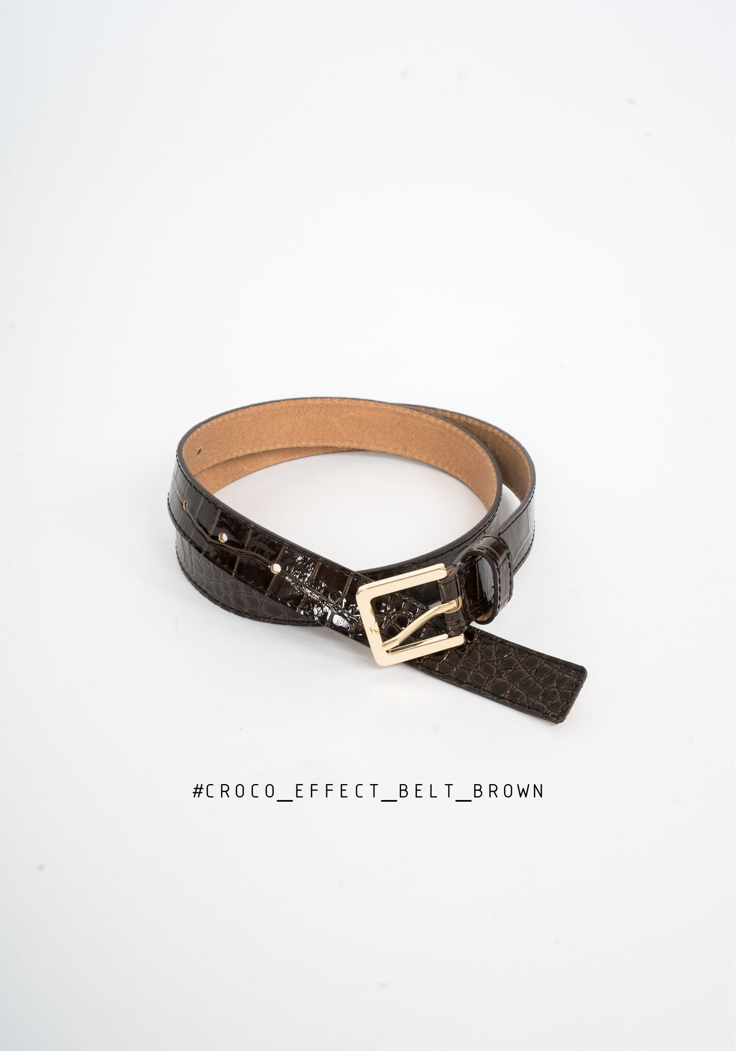 Croco Effect Belt Brown