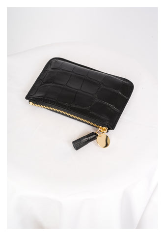 Croc Effect Leather Pouch