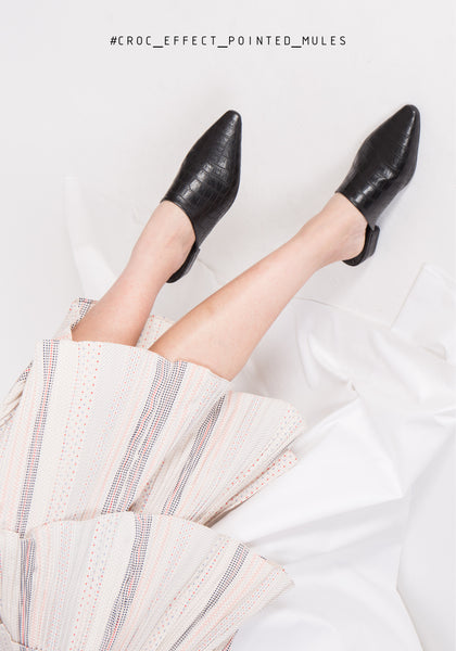 Croc Effect Pointed Mules - whoami