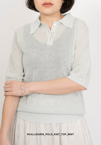 Calligaris Polo Knit Top Mint