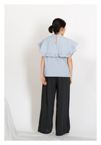 Cape Ruffle Collar Summer Blouse Blue - whoami