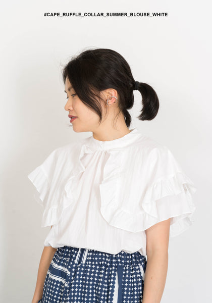 Cape Ruffle Collar Summer Blouse White - whoami