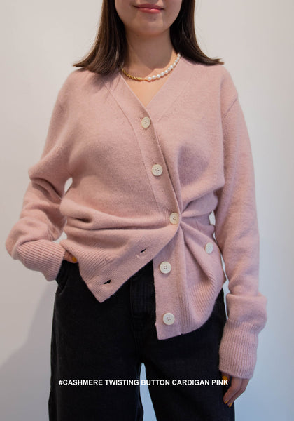 Cashmere Twisting Button Cardigan Pink - whoami