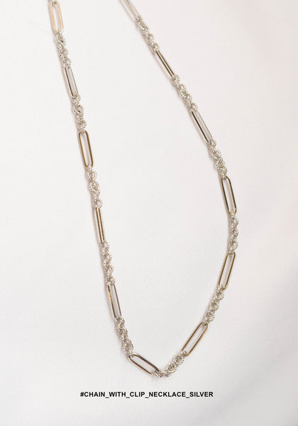 Chain With Clip Necklace Silver - whoami