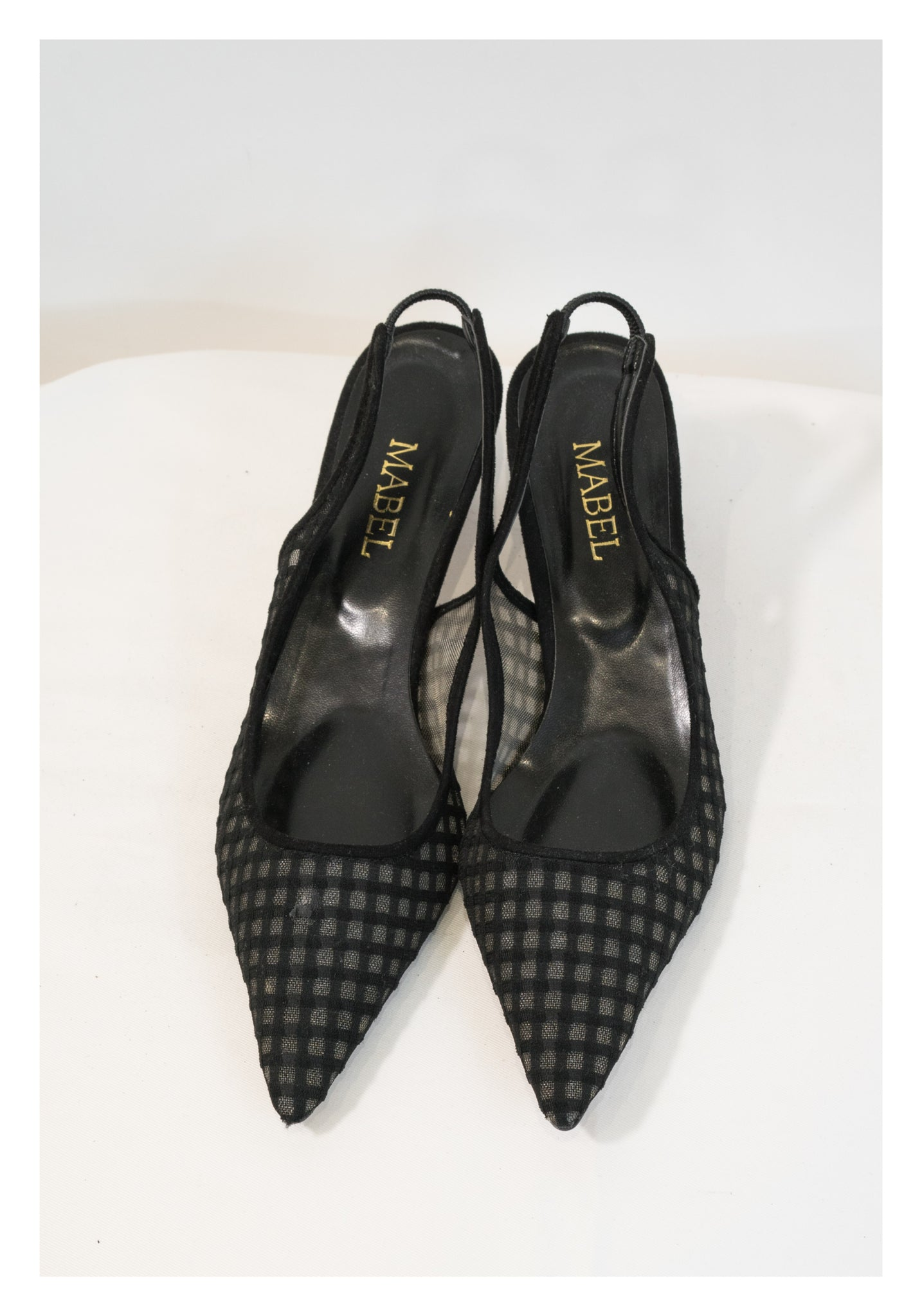 Sample Checker Mesh Pointed Kitten Heels