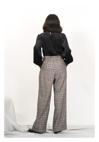 Checker Wide Leg Pants Blue - whoami