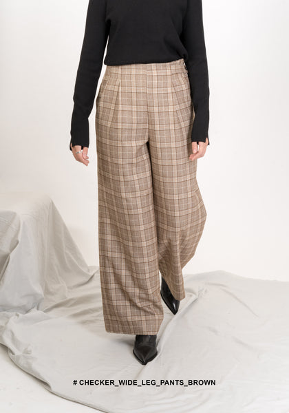 Checker Wide Leg Pants Brown - whoami