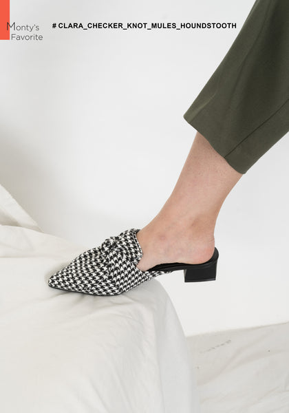 Clara Checker Knot Mules Houndstooth - whoami