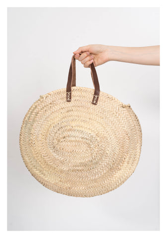 Classic Leather handle French Oval Straw Bag - whoami