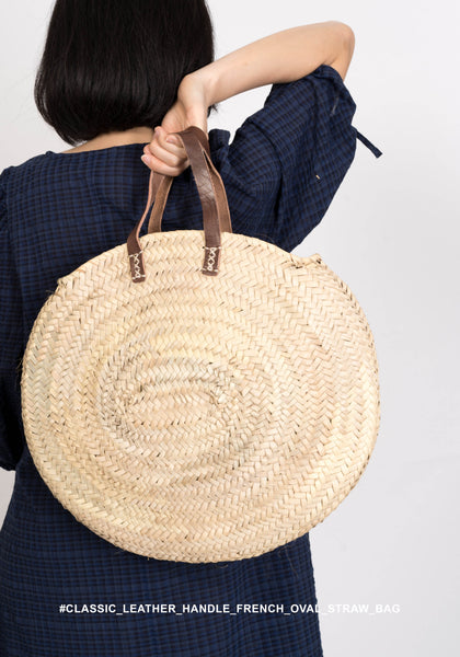 Classic Leather handle French Oval Straw Bag