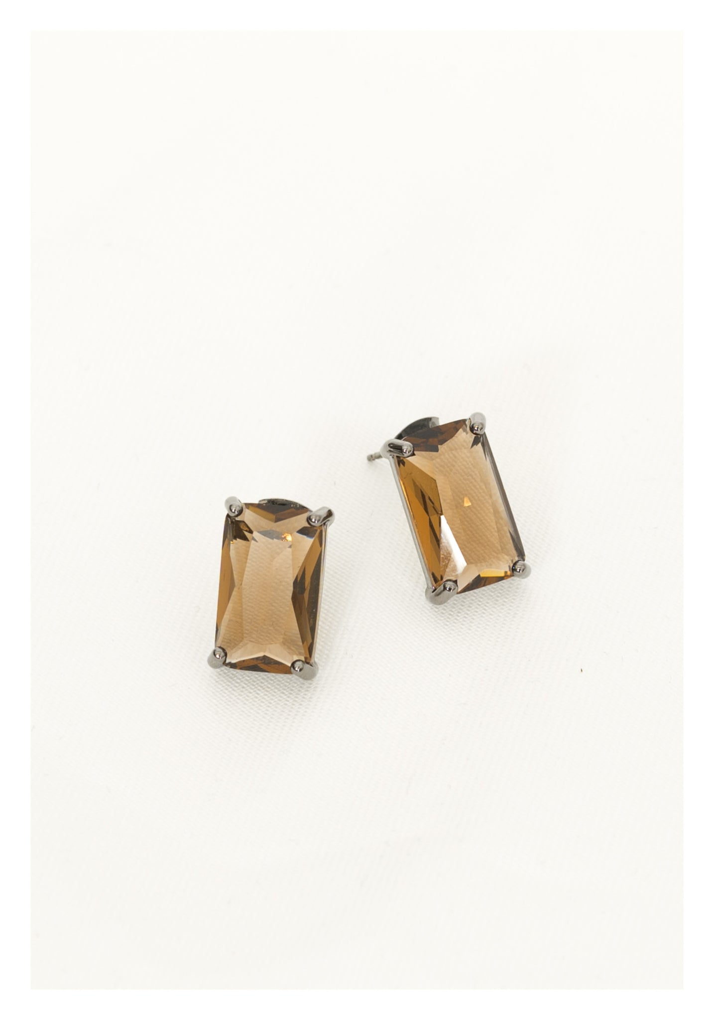 Classic Rectangle Gem Earrings Brown - whoami
