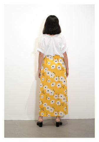 Color Flower Pattern Skirt Yellow