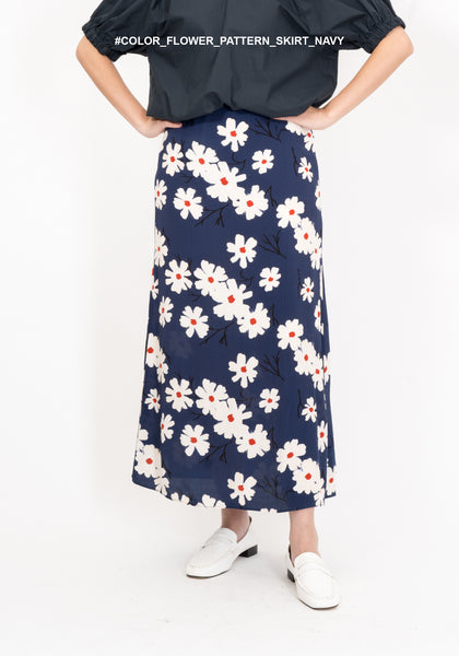 Color Flower Pattern Skirt Navy - whoami