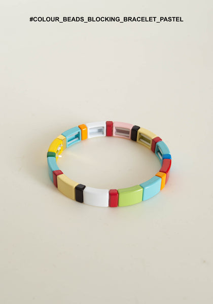 Colour Beads Blocking Bracelet Pastel - whoami