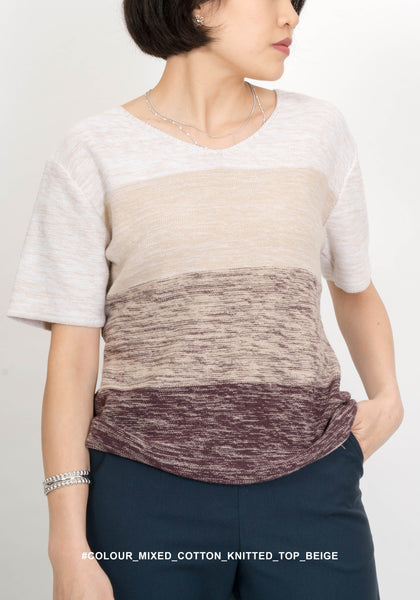 Colour Mixed Cotton Knitted Top Beige