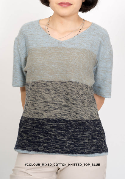 Colour Mixed Cotton Knitted Top Blue