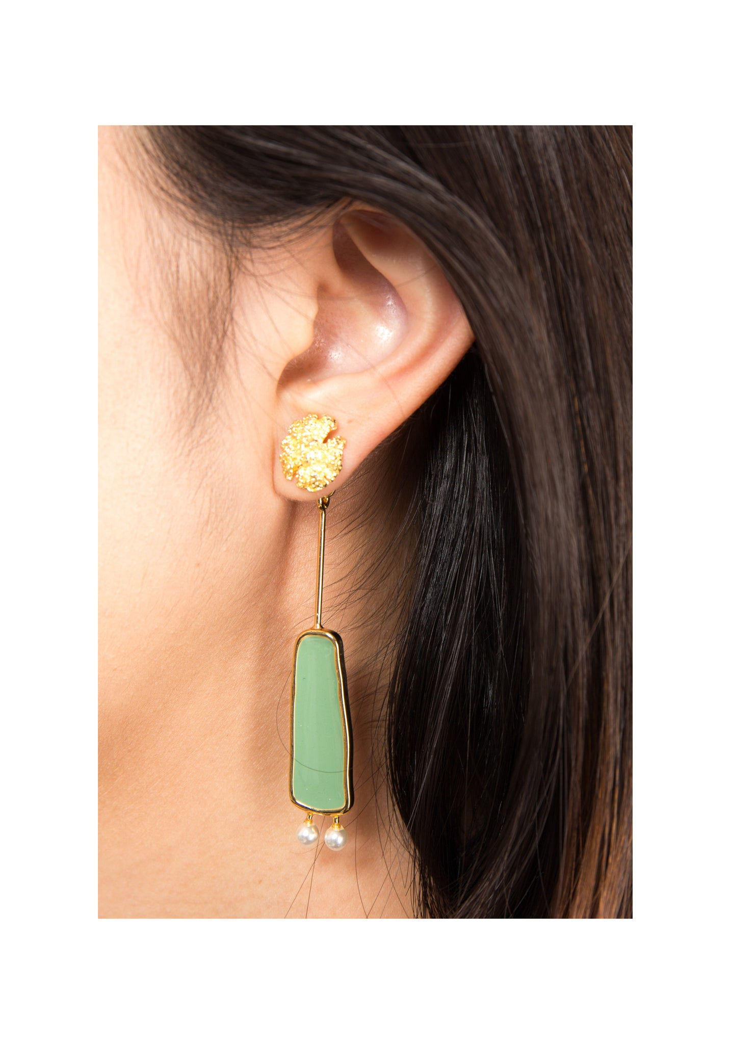 Colour Bar And Pearl Earrings Green - whoami