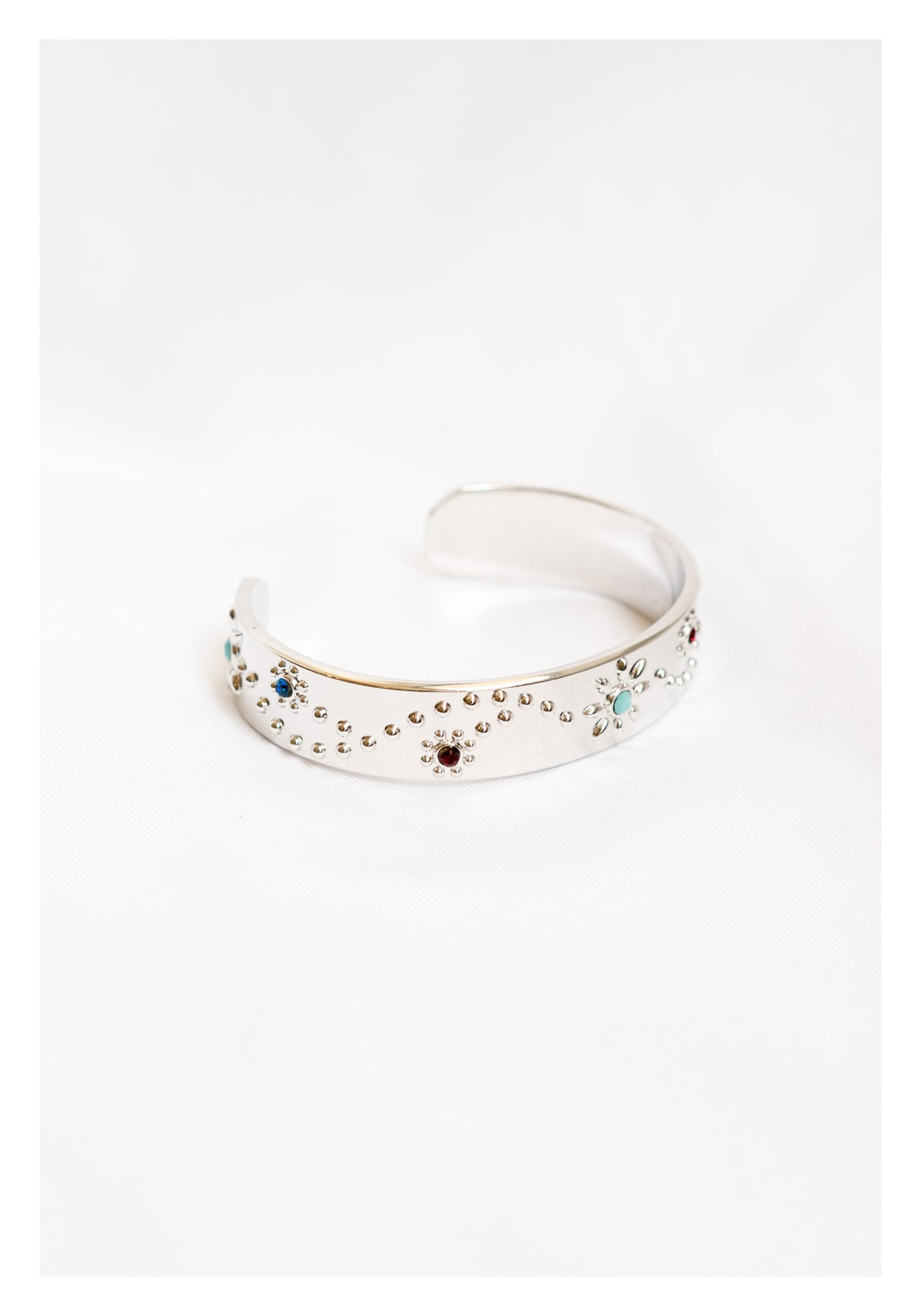Colour Beads Pattern Bangle Silver - whoami