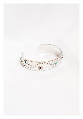 Colour Beads Pattern Bangle Silver