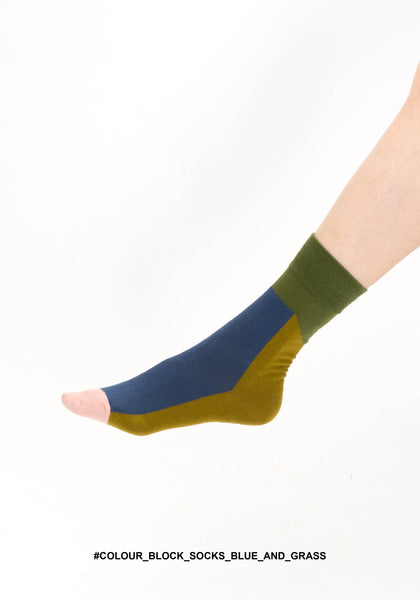 Colour Block Socks Blue And Grass - whoami