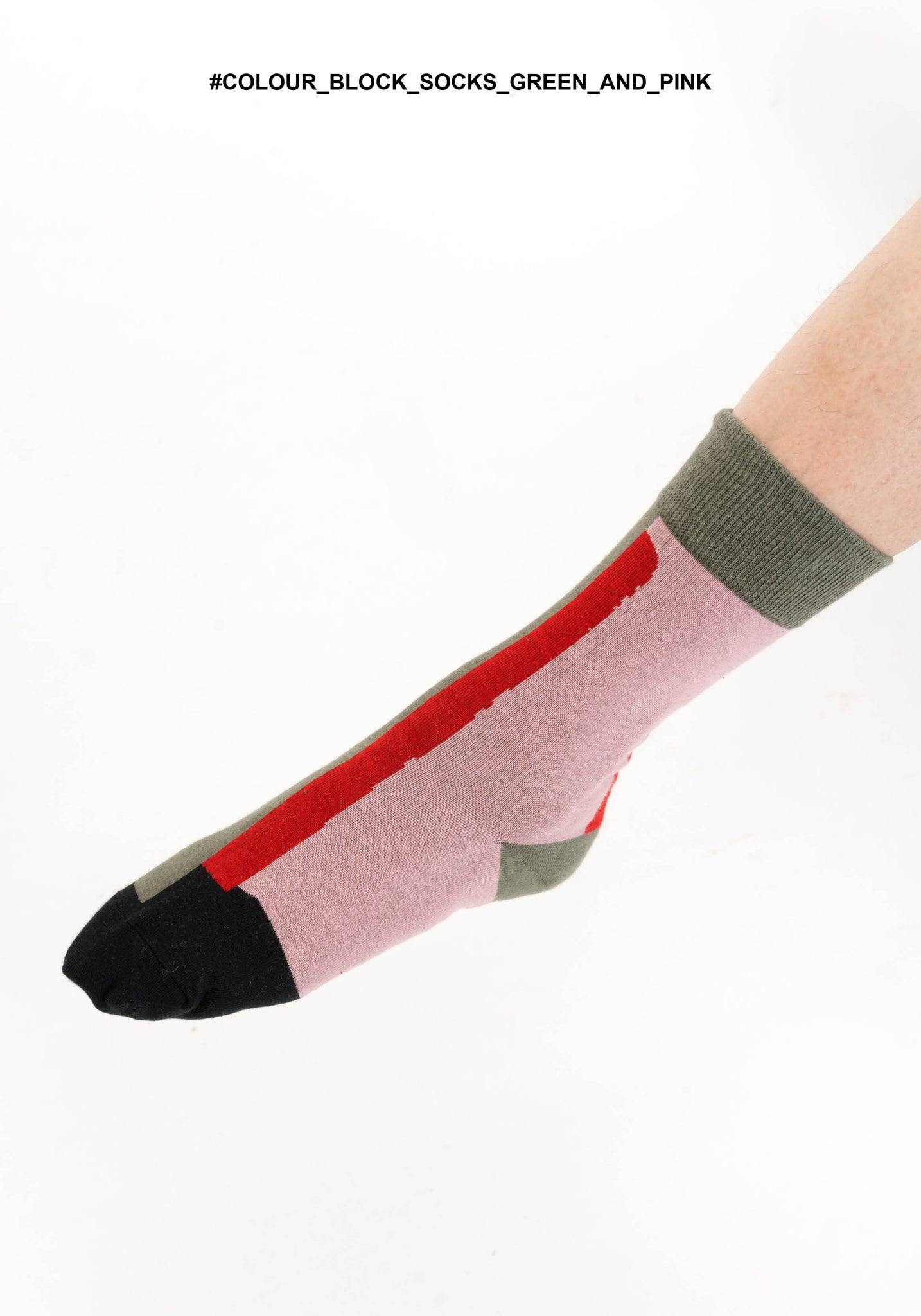 Colour Block Socks Green And Pink - whoami