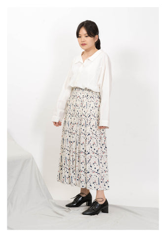 Colour Ink Dot Pleated Skirt White