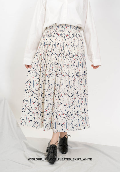 Colour Ink Dot Pleated Skirt White - whoami