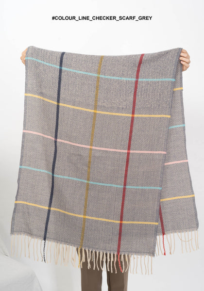 Colour Line Checker Scarf Grey