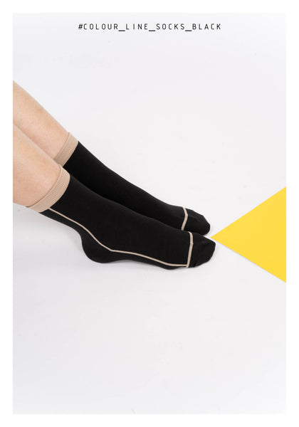 Colour Line Socks Black - whoami