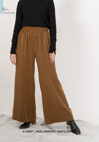 Comfy Wide Dripping Pants Brown