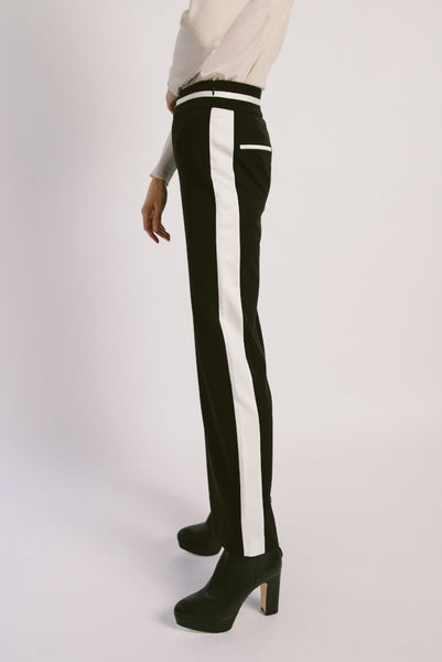 Contrast Binding Wool Pants Black - whoami