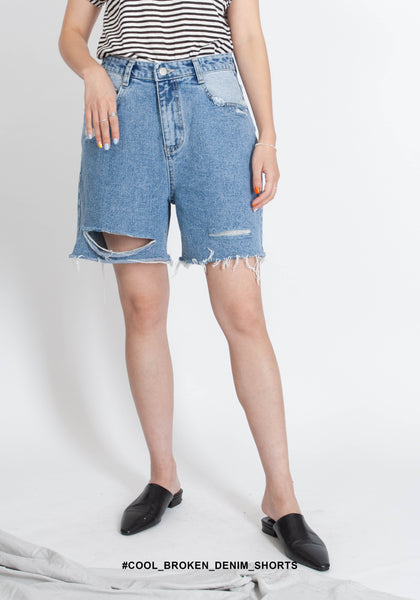 Cool Broken Denim Shorts - whoami
