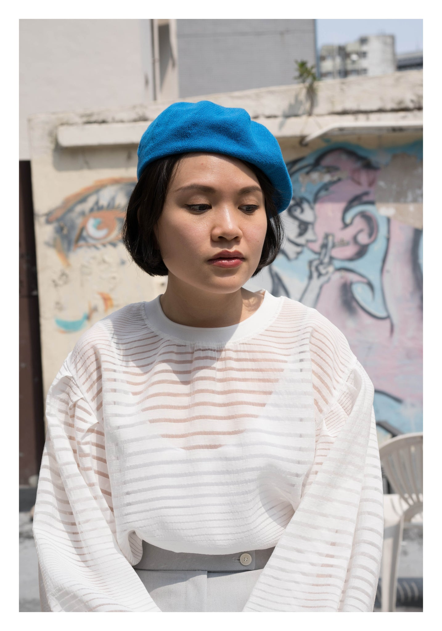 Cotton Kntted Beret Blue - whoami
