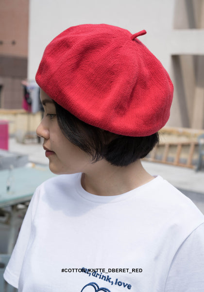 Cotton Kntted Beret Red - whoami