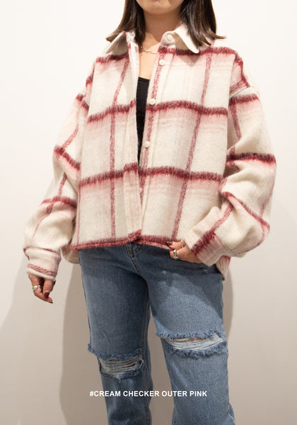 Cream Checker Outer Pink - whoami
