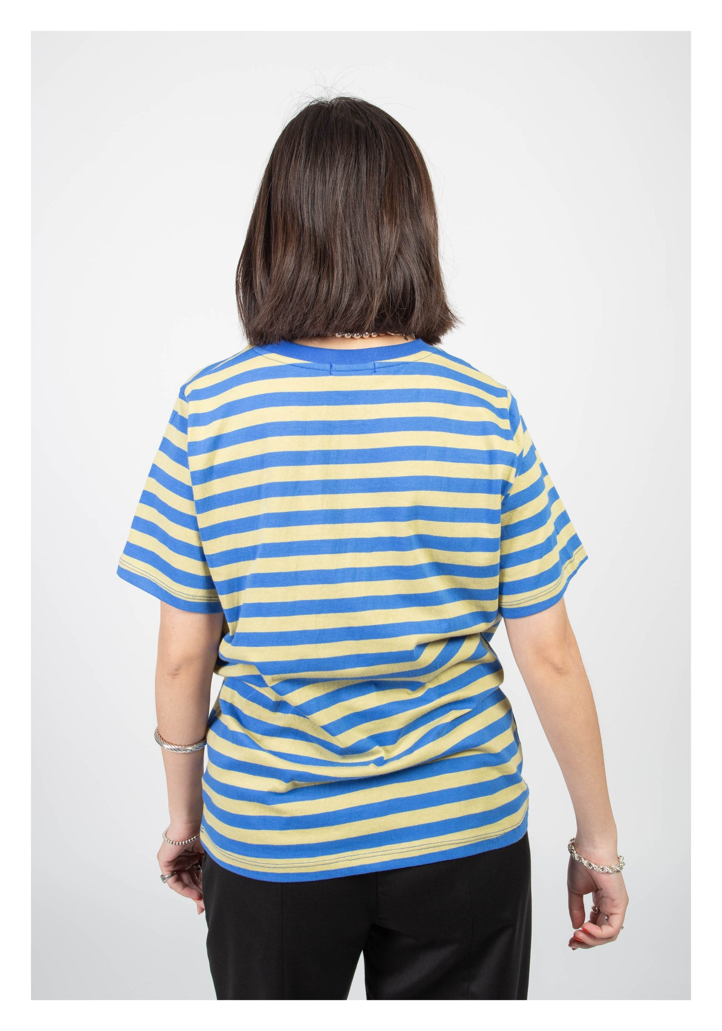 Crew Neck Stripe Tee Blue
